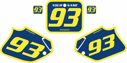 Fits Honda CR250 1992-1994 Blue Pre-Printed Backgrounds - Yellow Bold Pinstripe by FactoryRide
