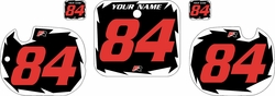 1984 Honda CR125 Pre-Printed Backgrounds Black - White Shock - Red Numbers by FactoryRide