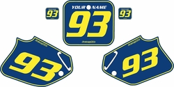 1992-1994 Honda CR250 Blue Pre-Printed Backgrounds - Yellow Pinstripe by FactoryRide