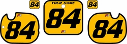 1984 Honda CR125 Pre-Printed Backgrounds Yellow - Black Bold Pinstripe by FactoryRide
