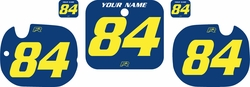 Fits Honda CR125 1984 Blue Pre-Printed Backgrounds - Yellow Numbers by FactoryRide