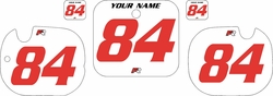 1984 Honda CR125 Pre-Printed Backgrounds White - Red Numbers by FactoryRide