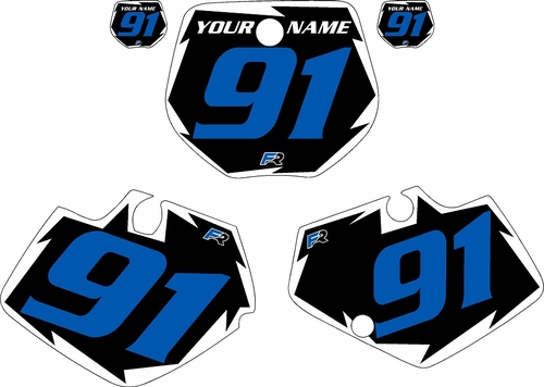 1991-1992 Yamaha YZ125 Pre-Printed Black Background - White Shock Series - Blue Number