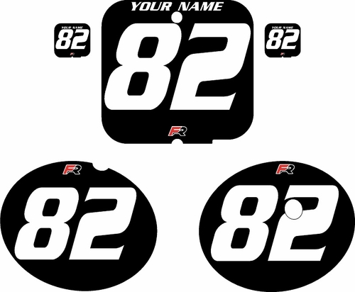 1981 Suzuki RM250 Black Pre-Printed Backgrounds - White Numbers by FactoryRide