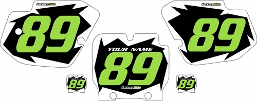 1989-1995 Kawasaki KX500 Pre-Printed Black Background - White Shock Series - Green Number by Factory Ride