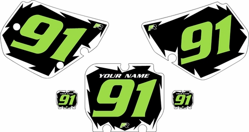 1990-1991 Kawasaki KX250 Pre-Printed Black Background - White Shock Series - Green Number by Factory Ride