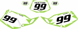 1993-1996 Kawasaki KLX300 Pre-Printed Backgrounds White - Green Shock Series by FactoryRide