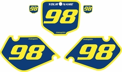 Fits Honda CR125 1998-1999 Blue Pre-Printed Backgrounds - Yellow Bold Pinstripe by FactoryRide