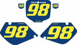Fits Honda CR125 1998-1999 Blue Pre-Printed Backgrounds - Yellow Numbers by FactoryRide
