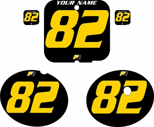 1981 Suzuki RM250 Black Pre-Printed Backgrounds - Yellow Numbers by FactoryRide