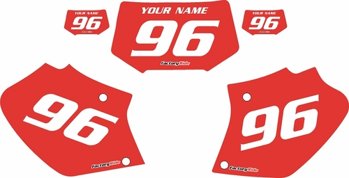 1996-2004 Honda XR250 Pre-Printed Backgrounds Red - White Numbers by FactoryRide