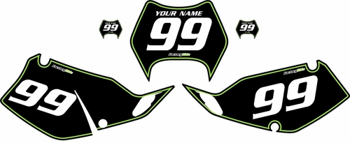 1997-2008 Kawasaki KLX300 Custom Pre-Printed Background Black - Green Pinstripe by Factory Ride