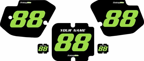 1988 Kawasaki KX500 Pre-Printed Backgrounds Black - Green Numbers by FactoryRide