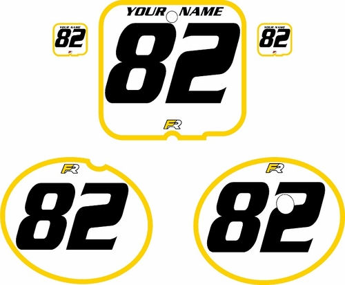 1981 Suzuki RM250 White Pre-Printed Backgrounds - Yellow Bold Pinstripe by FactoryRide