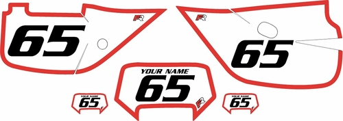 1992-2009 Honda XR650L Custom White Pre-Printed Background - Red Bold Pinstripe by Factory Ride