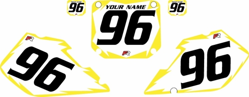 1996-1998 Suzuki RM125 Pre-Printed Backgrounds White - Yellow Shock Series by FactoryRide