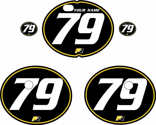 1979-1980 Suzuki RM125 Black Pre-Printed Backgrounds - Yellow Pinstripe by FactoryRide
