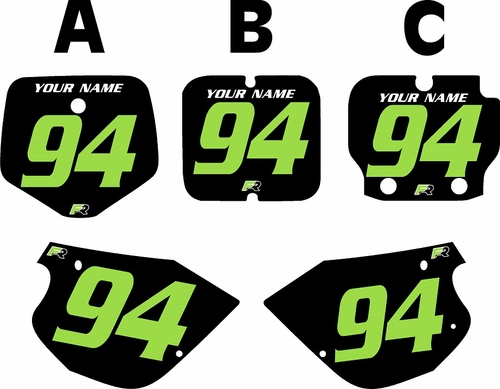 1991-1997 Kawasaki KX80 Pre-Printed Backgrounds Black - Green Numbers by FactoryRide