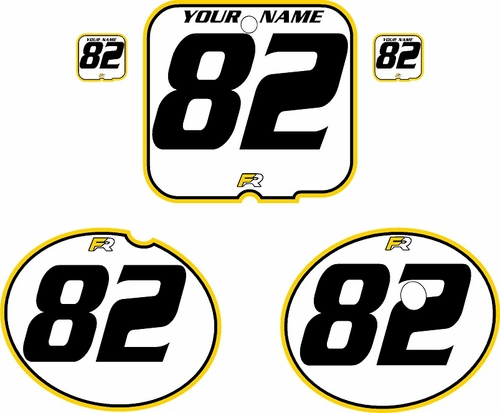 1981 Suzuki RM250 White Pre-Printed Backgrounds - Yellow Pro Pinstripe by FactoryRide