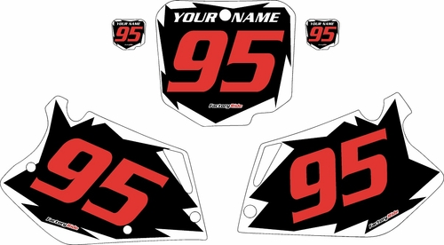1995-1997 Honda CR125 Pre-Printed Backgrounds Black - White Shock - Red Numbers by FactoryRide