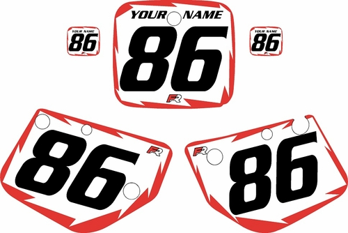 1986-1988 Yamaha YZ125 Pre Printed Number Plate Backgrounds-White with-Red-Shock Series