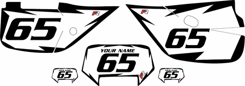 1992-2009 Honda XR650L White Pre-Printed Backgrounds - Black Shock Series by Factory Ride