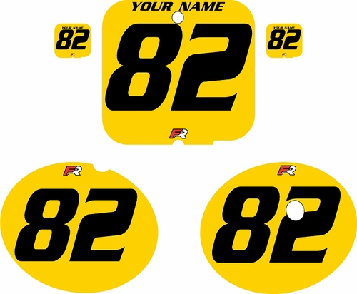 1981 Suzuki RM250 Yellow Pre-Printed Backgrounds - Black Numbers by FactoryRide
