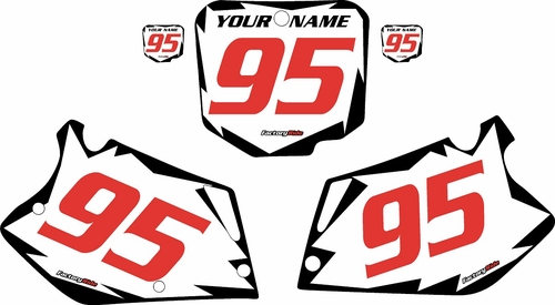 1995-1997 Honda CR125 Pre-Printed Backgrounds White - Black Shock - Red Numbers by FactoryRide