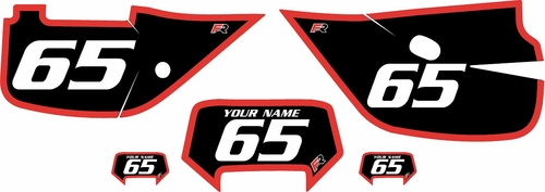 1992-2009 Honda XR650L Custom Black Pre-Printed Background - Red Bold Pinstripe by Factory Ride
