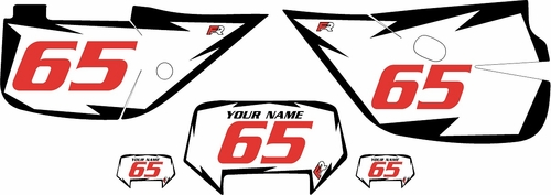 1992-2009 Honda XR650L Pre-Printed Backgrounds White - Black Shock - Red Numbers by FactoryRide