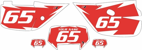 1992-2009 Honda XR650L Pre-Printed Backgrounds Red - White Shock Series by FactoryRide