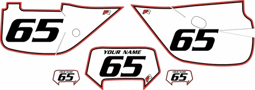 1992-2009 Honda XR650L Pre-Printed Backgrounds White - Red Pro Pinstripe by FactoryRide