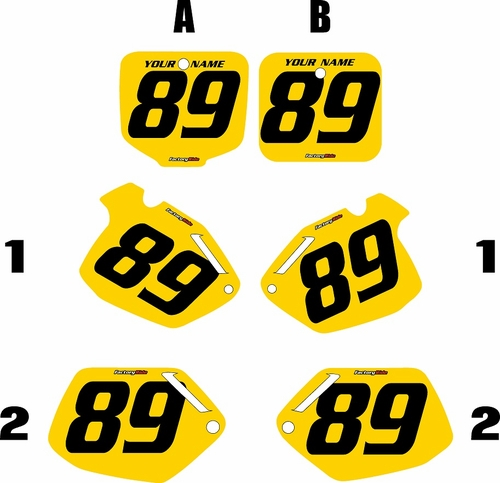 1991-2001 Honda CR500 Pre-Printed Backgrounds Yellow - Black Numbers by FactoryRide