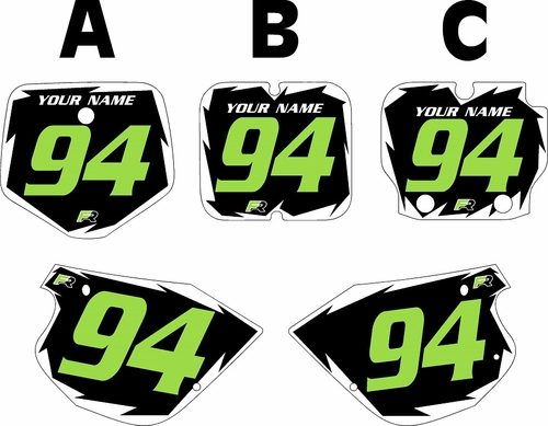 1991-1997 Kawasaki KX 80 Pre-Printed Black Background - White Shock Series - Green Number by Factory Ride