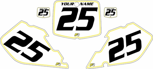 1999-2000 Suzuki RM125 Pre-Printed Backgrounds White - Yellow Pinstripe by FactoryRide