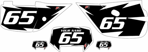 1992-2009 Honda XR650L Black Pre-Printed Backgrounds - White Shock Series by FactoryRide