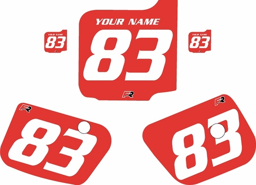 1983 Husqvarna CR125 Custom Pre-Printed Background Red - White Numbers by Factory Ride