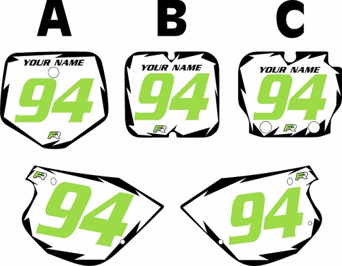 1991-1997 Kawasaki KX 80 Pre-Printed White Background - Black Shock Series - GreenNumber by Factory Ride