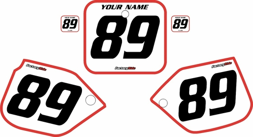 1989-1990 Honda CR500 Pre-Printed Backgrounds White - Red Bold Pinstripe by FactoryRide
