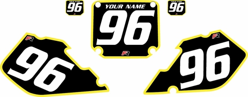 1996-1998 Suzuki RM125 Pre-Printed Backgrounds Black - Yellow Bold Pinstripe by FactoryRide