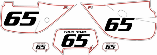 1992-2009 Honda XR650L Custom White Pre-Printed Background - Red Pinstripe by Factory Ride