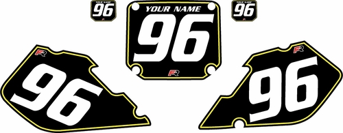 1996-1998 Suzuki RM125 Pre-Printed Backgrounds Black - Yellow Pinstripe by FactoryRide