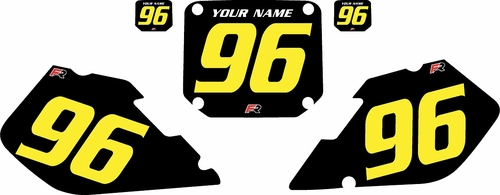 1996-1998 Suzuki RM125 Pre-Printed Backgrounds Black - Yellow Numbers by FactoryRide