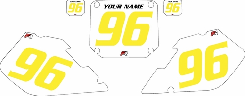 1996-1998 Suzuki RM125 Pre-Printed Backgrounds White - Yellow Numbers by FactoryRide