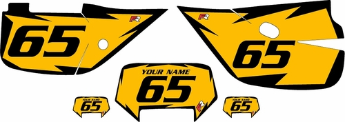 1992-2009 Honda XR650L Pre-Printed Backgrounds Yellow - Black Shock Series by FactoryRide