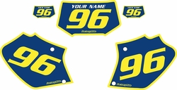Fits Honda XR400 1996-2004 Blue Pre-Printed Backgrounds - Yellow Bold Pinstripe by FactoryRide