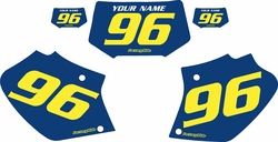 1996-2004 Honda XR400 Blue Pre-Printed Background - Yellow Numbers  by Factory Ride