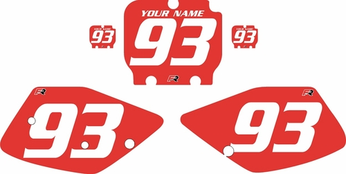 1992-1993 Kawasaki KX125 Custom Pre-Printed Red Background - White Numbers by Factory Ride
