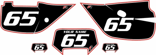 1992-2009 Honda XR650L Pre-Printed Backgrounds Black - Red Pro Pinstripe by FactoryRide