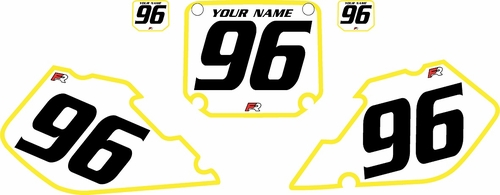 1996-1998 Suzuki RM125 Pre-Printed Backgrounds White - Yellow Bold Pinstripe by FactoryRide